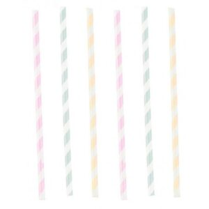 Happy Birthday Pastel papír szívószál, 12 db-os szett
