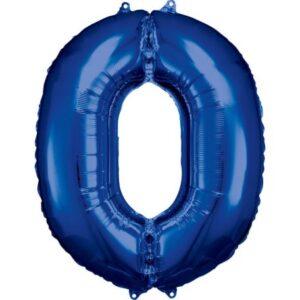 Blue óriás szám fólia lufi 0-ás, 88*66 cm