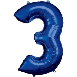 Blue óriás szám fólia lufi 3-as, 88*53 cm