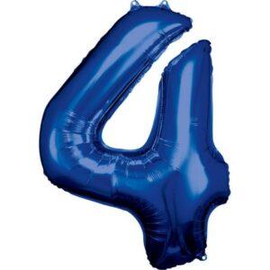 Blue óriás szám fólia lufi 4-es, 88*66 cm