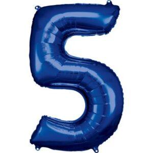 Blue óriás szám fólia lufi 5-ös, 86*58 cm