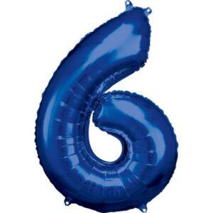 Blue óriás szám fólia lufi 6-os, 88*55 cm