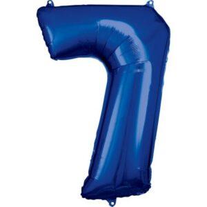 Blue óriás szám fólia lufi 7-es, 88*58 cm