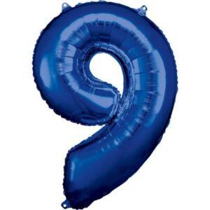 Blue óriás szám fólia lufi 9-es, 86*63 cm