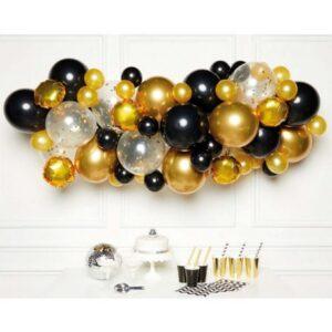 Black Gold léggömb, lufi girland 66 db-os szett