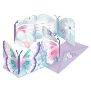 Flutter, Pillangó party meghívó 8 db-os