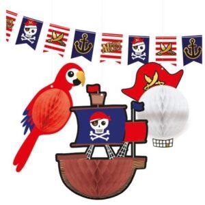 Kalóz zászló és lampion dekoráció szett