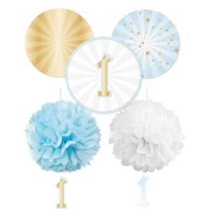 Blue Ombre Első születésnap függő dekoráció 5 db-os