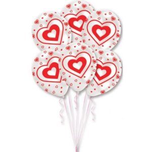 Heart, Szív léggömb, lufi 6 db-os