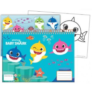 Baby Shark A/4 spirál vázlatfüzet 40 lapos matricával