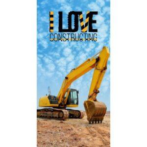 Construction, Építkezés fürdőlepedő, strand törölköző 70*140cm