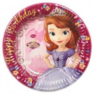 Disney Sofia Happy Birthday, Szófia Papírtányér 8 db-os 19,5 cm