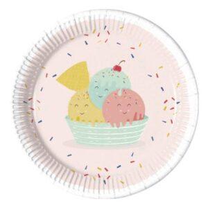 Happy Ice cream, fagyi Papírtányér 8 db-os 23 cm