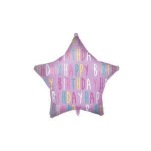 Happy Birthday Purple Star fólia lufi 46 cm