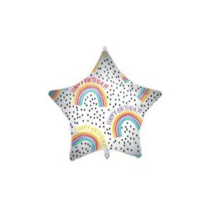 Happy Birthday Rainbow Star fólia lufi 46 cm