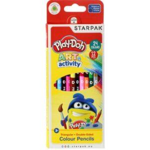 Play-Doh kétvégű, háromszögletű színes ceruza készlet