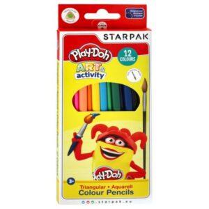 Play-Doh Aquarell 12-es, háromszögletű színes ceruza készlet, ecsettel