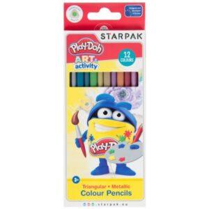 Play-Doh Metallic, háromszögletű színes ceruza 12 db-os